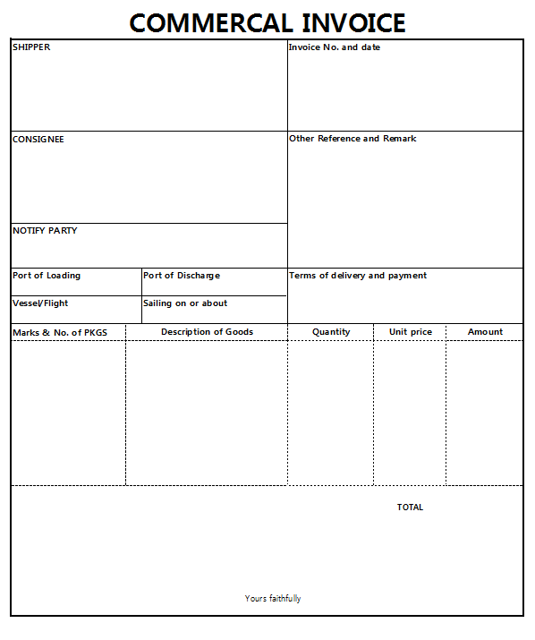 상업송장 (커머셜 인보이스, Commercial Invoice)